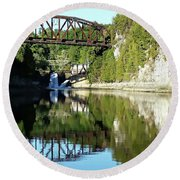 Old Railway Bridge Over The Winooski River Round Beach Towel by Joseph Hendrix