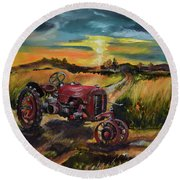 Old Red At Sunset - Tractor Round Beach Towel