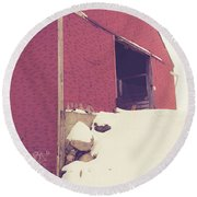 Round Beach Towel featuring the photograph Old Red Barn In Winter by Edward Fielding