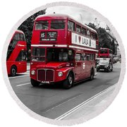 Old Red Bus Bw Round Beach Towel
