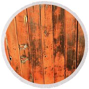 Old Red Fence Round Beach Towel