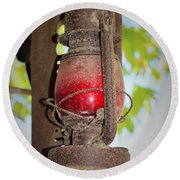 Old Red Lamp Round Beach Towel
