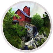 Old Red Mill In Jericho Vt Round Beach Towel