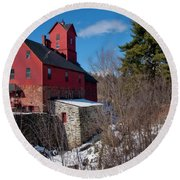 Round Beach Towel featuring the photograph Old Red Mill - Jericho, Vt. by Joann Vitali