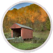 Old Red Or Walkersville Covered Bridge Round Beach Towel