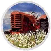 Old Red Tractor Round Beach Towel