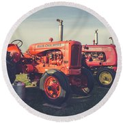 Old Red Vintage Tractors Prince Edward Island  Round Beach Towel by Edward Fielding