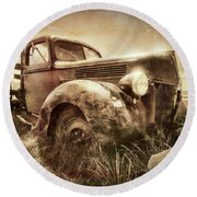 Round Beach Towel featuring the photograph Old Relic by Sharon Seaward