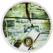 Old Retro Film Camera In Creative Composition Round Beach Towel