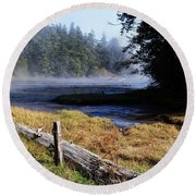 Old River Scene Round Beach Towel