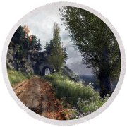 Round Beach Towel featuring the digital art Old Road By The Sea by Kai Saarto