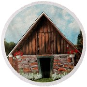 Old Root House Round Beach Towel
