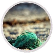 Old Rope By The Beach Round Beach Towel