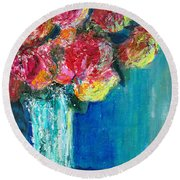 Old Roses Round Beach Towel by Veronica Rickard