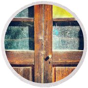 Round Beach Towel featuring the photograph Old Rotten Door by Silvia Ganora