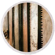 Retired Rusted Saws Round Beach Towel by Lexa Harpell