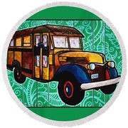 Round Beach Towel featuring the painting Old Rusted School Bus With Quilted Windows by Jim Harris