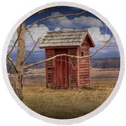 Old Rustic Wooden Outhouse In West Michigan Round Beach Towel