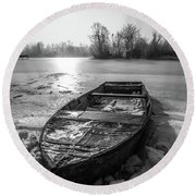 Old Rusty Boat Round Beach Towel by Davorin Mance