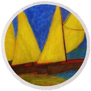 Old Sailboats Round Beach Towel