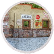 Old Saloon Wall Round Beach Towel