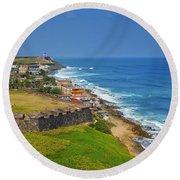 Old San Juan Coastline Round Beach Towel by Stephen Anderson