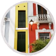 Old San Juan Homes Round Beach Towel by The Art of Alice Terrill