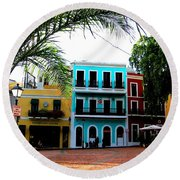 Round Beach Towel featuring the photograph Old San Juan Pr by Michelle Dallocchio