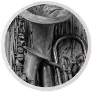 Old Sax And Tuba Round Beach Towel by Garry Gay