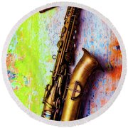 Old Sax On Worn Table Round Beach Towel by Garry Gay