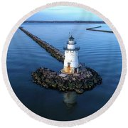 Old Saybrook Outer Lighthouse Round Beach Towel