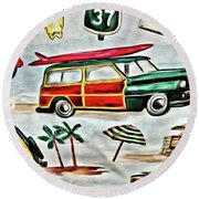 Old School Beach Time Round Beach Towel