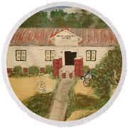 Alvin South Carolina Old School House Round Beach Towel