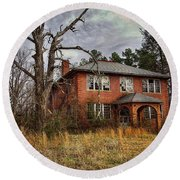 Old School House  Round Beach Towel by Melissa Messick