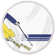 Old School Skier Round Beach Towel