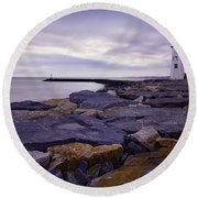 Old Scituate Light At Sunrise Round Beach Towel