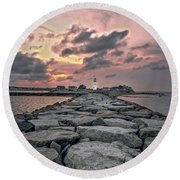 Old Scituate Light At The End Of The Jetty Round Beach Towel