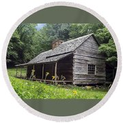 Old Settlers Cabin Smoky Mountains National Park Round Beach Towel