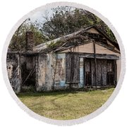 Round Beach Towel featuring the photograph Old Shack by Kim Hojnacki