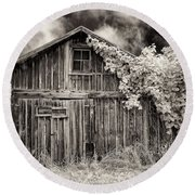 Round Beach Towel featuring the photograph Old Shed In Sepia by Greg Nyquist