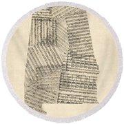 Old Sheet Music Map Of Alabama Round Beach Towel