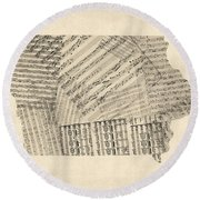 Old Sheet Music Map Of Iowa Round Beach Towel