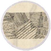 Old Sheet Music Map Of Kansas Round Beach Towel
