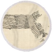 Old Sheet Music Map Of Massachusetts Round Beach Towel