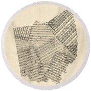 Old Sheet Music Map Of Ohio Round Beach Towel