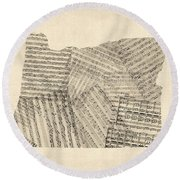 Old Sheet Music Map Of Oregon Round Beach Towel