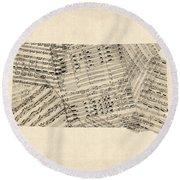 Old Sheet Music Map Of South Dakota Round Beach Towel