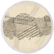 Old Sheet Music Map Of Turkey Map Round Beach Towel