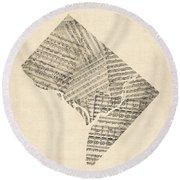Old Sheet Music Map Of Washington Dc Round Beach Towel