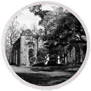 Round Beach Towel featuring the photograph Old Sheldon Church  by Gary Wightman